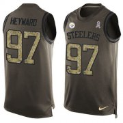 Wholesale Cheap Nike Steelers #97 Cameron Heyward Green Men's Stitched NFL Limited Salute To Service Tank Top Jersey