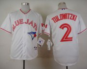 Wholesale Cheap Blue Jays #2 Troy Tulowitzki White 2015 Canada Day Stitched MLB Jersey