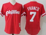 Wholesale Cheap Mitchell And Ness Phillies #7 Maikel Franco Red Throwback Stitched MLB Jersey