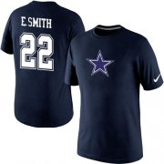 Wholesale Cheap Nike Dallas Cowboys #22 Emmitt Smith Name & Number NFL T-Shirt Blue