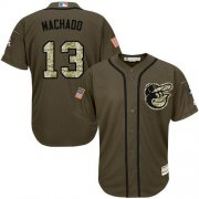 Wholesale Cheap Orioles #13 Manny Machado Green Salute to Service Stitched Youth MLB Jersey