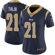 Wholesale Cheap Nike Rams #21 Aqib Talib Navy Blue Team Color Women's Stitched NFL Vapor Untouchable Limited Jersey