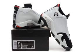 Wholesale Cheap WMNS Air Jordan 14 Shoes Black Toe White/black-red