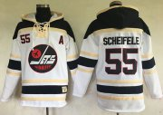 Wholesale Cheap Jets #55 Mark Scheifele White Sawyer Hooded Sweatshirt Stitched NHL Jersey