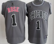 Wholesale Cheap Chicago Bulls #1 Derrick Rose Gray Shadow Jersey