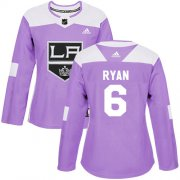 Wholesale Cheap Adidas Kings #6 Joakim Ryan Purple Authentic Fights Cancer Women's Stitched NHL Jersey