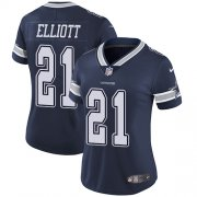 Wholesale Cheap Nike Cowboys #21 Ezekiel Elliott Navy Blue Team Color Women's Stitched NFL Vapor Untouchable Limited Jersey