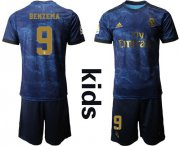 Wholesale Cheap Real Madrid #9 Benzema Away Kid Soccer Club Jersey