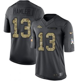 Wholesale Cheap Nike Broncos #13 KJ Hamler Black Men\'s Stitched NFL Limited 2016 Salute to Service Jersey