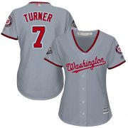 Wholesale Cheap Nationals #7 Trea Turner Grey Road 2019 World Series Champions Women's Stitched MLB Jersey