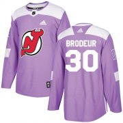 Wholesale Cheap Adidas Devils #30 Martin Brodeur Purple Authentic Fights Cancer Stitched Youth NHL Jersey