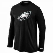 Wholesale Cheap Nike Philadelphia Eagles Logo Long Sleeve T-Shirt Black
