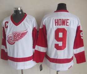 Wholesale Cheap Red Wings #9 Gordie Howe White CCM Throwback Stitched NHL Jersey