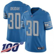 Wholesale Cheap Nike Lions #30 Jeff Okudah Blue Team Color Youth Stitched NFL 100th Season Vapor Untouchable Limited Jersey