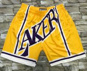 Wholesale Cheap Men's Los Angeles Lakers Yellow Big Face Mitchell Ness Hardwood Classics Soul Swingman Throwback Shorts