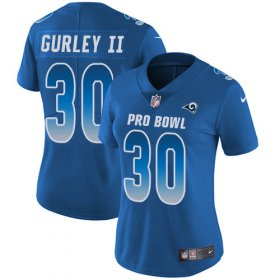 Wholesale Cheap Nike Rams #30 Todd Gurley II Royal Women\'s Stitched NFL Limited NFC 2019 Pro Bowl Jersey