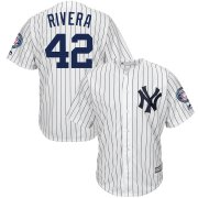 Wholesale Cheap New York Yankees #42 Mariano Rivera Majestic 2019 Hall of Fame Patch Cool Base Player Jersey White Navy