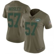 Wholesale Cheap Nike Jets #57 C.J. Mosley Olive Women's Stitched NFL Limited 2017 Salute to Service Jersey