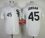 Wholesale White Sox #45 Michael Jordan Stitched White Black Strip Baseball Jersey