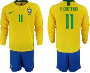 Wholesale Cheap Brazil #11 P.Coutinho Home Long Sleeves Soccer Country Jersey