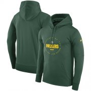 Wholesale Cheap Men's Green Bay Packers Nike Green Sideline Property Of Wordmark Logo Performance Pullover Hoodie
