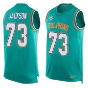 Wholesale Cheap Nike Dolphins #73 Austin Jackson Aqua Green Team Color Men's Stitched NFL Limited Tank Top Jersey