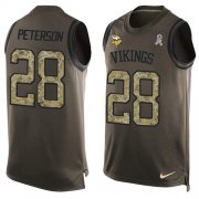 Wholesale Cheap Nike Vikings #28 Adrian Peterson Green Men's Stitched NFL Limited Salute To Service Tank Top Jersey