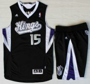 Wholesale Cheap Sacramento Kings #15 DeMarcus Cousins Black Revolution 30 Swingman Suits