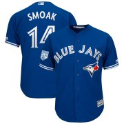 Wholesale Cheap Blue Jays #14 Justin Smoak Blue 2019 Spring Training Cool Base Stitched MLB Jersey