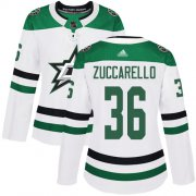 Wholesale Cheap Adidas Stars #36 Mats Zuccarello White Road Authentic Women's Stitched NHL Jersey