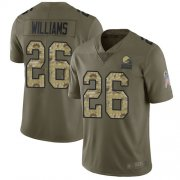 Wholesale Cheap Nike Browns #26 Greedy Williams Olive/Camo Men's Stitched NFL Limited 2017 Salute To Service Jersey