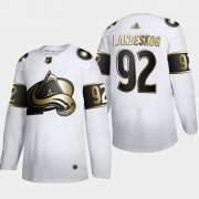 Wholesale Cheap Colorado Avalanche #92 Gabriel Landeskog Men's Adidas White Golden Edition Limited Stitched NHL Jersey