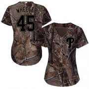 Wholesale Cheap Phillies #45 Zack Wheeler Camo Realtree Collection Cool Base Women's Stitched MLB Jersey