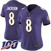 Wholesale Cheap Nike Ravens #8 Lamar Jackson Purple Team Color Women's Stitched NFL 100th Season Vapor Limited Jersey