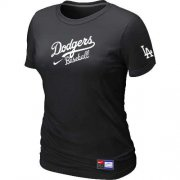 Wholesale Cheap Women's Los Angeles Dodgers Nike Short Sleeve Practice MLB T-Shirt Black