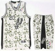 Wholesale Cheap San Antonio Spurs #20 Manu Ginobili Revolution 30 Swingman Grey Camo NBA Jerseys Shorts Suits