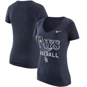 Wholesale Cheap Tampa Bay Rays Nike Women's Practice 1.7 Tri-Blend V-Neck T-Shirt Heathered Navy