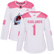 Wholesale Cheap Adidas Avalanche #1 Semyon Varlamov White/Pink Authentic Fashion Women's Stitched NHL Jersey