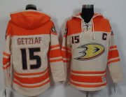 Wholesale Cheap Ducks #15 Ryan Getzlaf Cream/Orange Sawyer Hooded Sweatshirt Stitched NHL Jersey