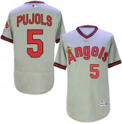Wholesale Cheap Angels of Anaheim #5 Albert Pujols Grey Flexbase Authentic Collection Cooperstown Stitched MLB Jersey
