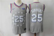 Wholesale Cheap Nike 76ers #25 Ben Simmons Gray 2018-19 City Edition Swingman Jersey