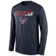 Wholesale Cheap Men's Houston Texans Nike Navy Legend Staff Practice Long Sleeves Performance T-Shirt
