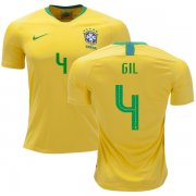 Wholesale Cheap Brazil #4 Gil Home Soccer Country Jersey