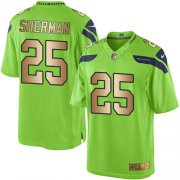Wholesale Cheap Nike Seahawks #25 Richard Sherman Green Men's Stitched NFL Limited Gold Rush Jersey
