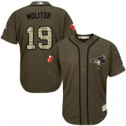 Wholesale Blue Jays #19 Paul Molitor Green Salute to Service Stitched Youth Baseball Jersey