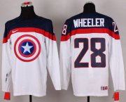 Wholesale Cheap Olympic Team USA #28 Blake Wheeler White Captain America Fashion Stitched NHL Jersey