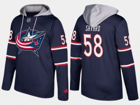 Wholesale Cheap Blue Jackets #58 David Savard Navy Name And Number Hoodie