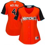 Wholesale Cheap Cardinals #4 Yadier Molina Orange 2017 All-Star National League Women's Stitched MLB Jersey