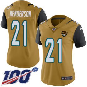 Wholesale Cheap Nike Jaguars #21 C.J. Henderson Gold Women\'s Stitched NFL Limited Rush 100th Season Jersey