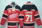 Wholesale Cheap Red Wings #71 Dylan Larkin Red Sawyer Hooded Sweatshirt Stitched NHL Jersey